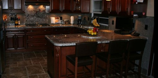 Kitchen Remodel With Lighting and Tile Flooring