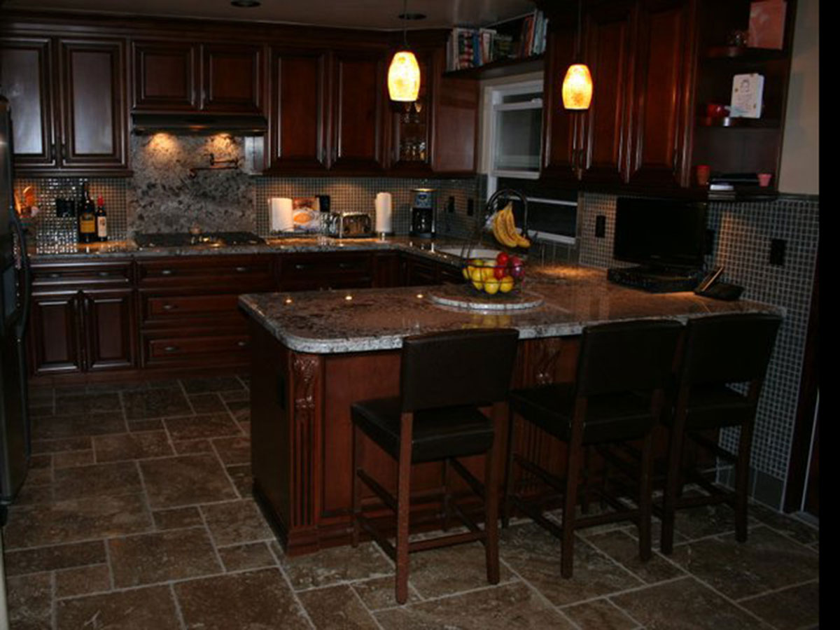 Gallery jeff jones floor systems for Dark tile kitchen floor