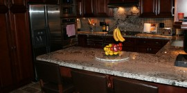 Glose Up of Granite Countertop Installation